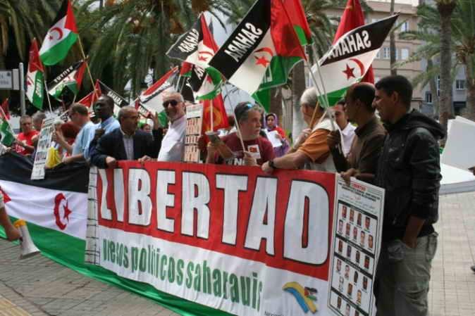Manifestación en Las Palmas de Gran Canarias en apoyo del pueblo saharaui