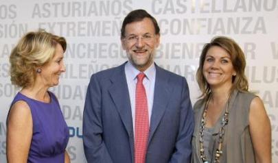 Esperanza Aguirre, Mariano Rajoy y María Dolores de Cospedal