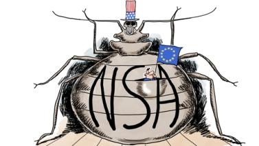 El Tío Sam nos espía. Dibujo publicado en  VOX.europ