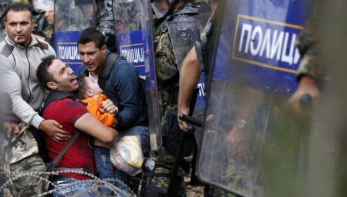 Refugiados sirios en la frontera de Grecia con Macedonia