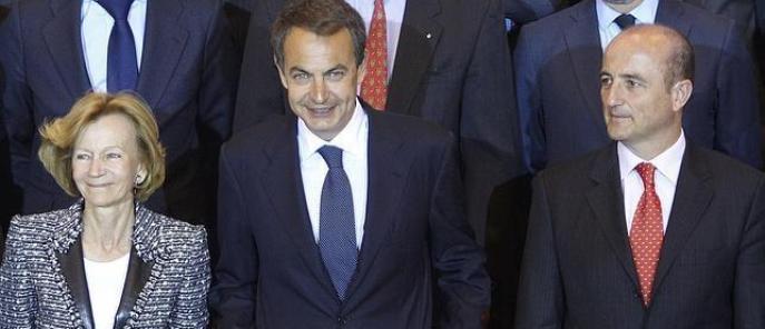 Elena Salgado, José Luis Rodríguez Zapatero y Miguel Sebastián