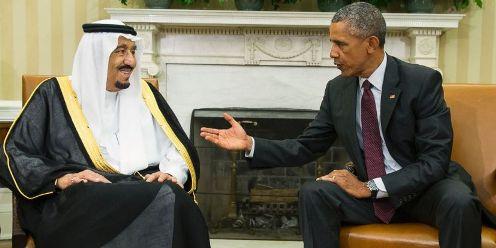Rey King Salman de Arabia Saudita y Barack Obama, prresidente de Estados Un idos.
