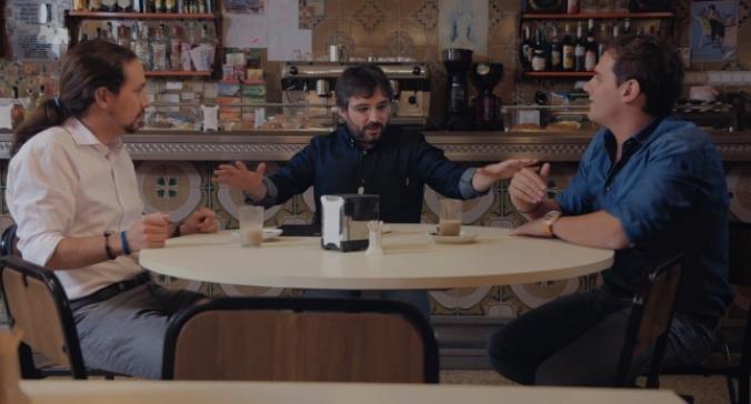 Pablo Iglesias, Jordi Évole y Albert Rivera