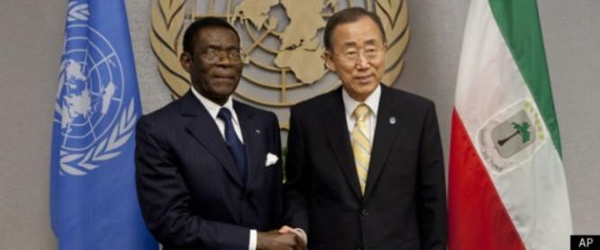 Teodoro Obiang Nguema y Ban Ki-moon, una fotografía que no debe repetirse.