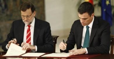 Mariano Rajoy y Pedro Sánchez firman el Pacto Antiyihadista