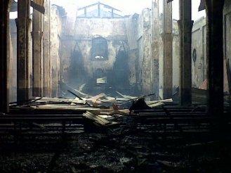 Estado en el que ha quedado la Iglesia de Rebola (Malabo).