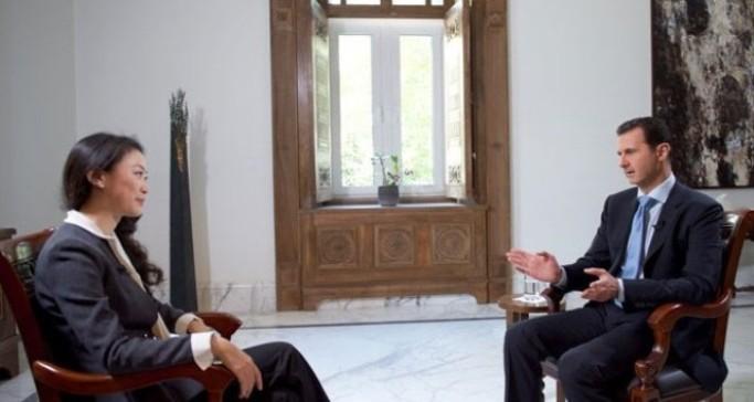 Presidente Bashar al Asad en una entrevista para la cadena china, Phoenix
