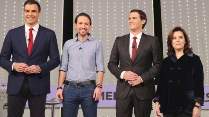 Debate: de izquierda a derecha: Pedro Sánchez, Pablo Iglesias, Albert Rivera y Soraya Sáenz de Santamaría