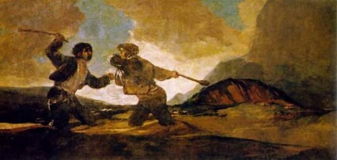 Duelo a garrotazos, pintura de Goya.