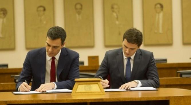 Acuerdo entre PSOE y Ciudadanos.
