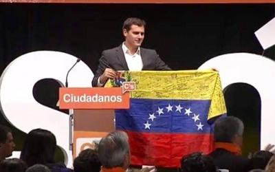 Albert Rivera, líder de Ciudadanos, hace política en Venezuela.