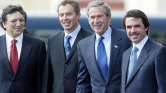 Durao Barroso, Tony Blair, George W. Bush y José María Aznar.