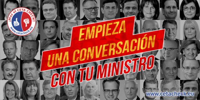 Empieza una conversación con tu ministro. Stop al TTIP.