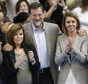 Sáenz de Santamaría, Rajoy y Cospedal.