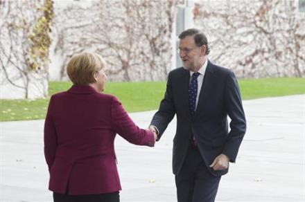 Angela Merkel y Mariano Rajoy. Foro La Moncloa.