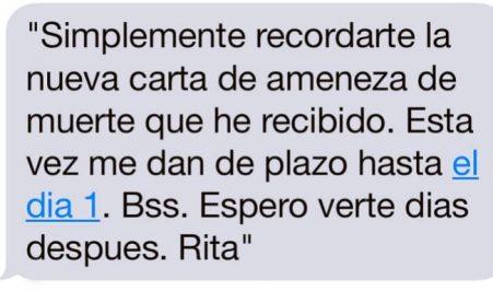 Rita Barberá denuncia amenazas.