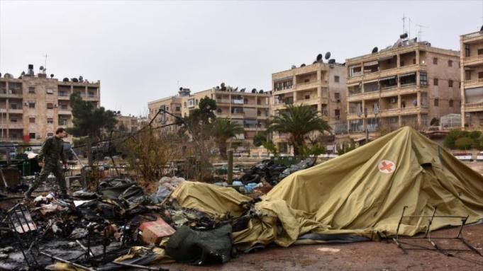 """Hospital ruso en Alepo destruido por los """"mercenarios"""" en el que murieron dos médicas rusas y hubo varios heridos."""