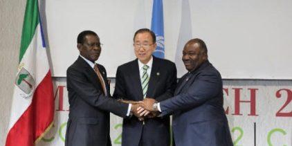 Teodoro Obiang Nguema Mbasogo, Ban Ki-moon y Ali Bongo Ondimba.
